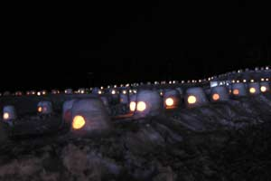 東神楽森の雪あかり